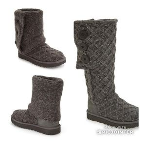 UGG Pure Cardy Knit Boots With Lattice Design Sz 7